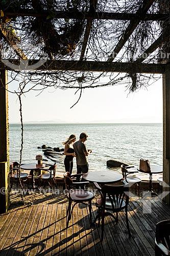 Vista da Praia de Santo Antônio de Lisboa a partir do deck do Restaurante Rosso Restro  - Florianópolis - Santa Catarina (SC) - Brasil