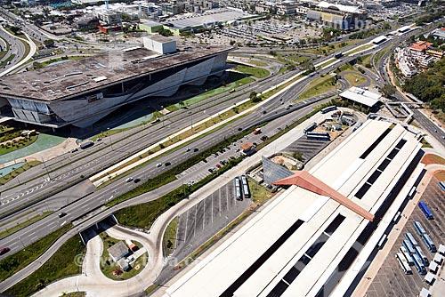 Foto aérea da Cidade das Artes - antiga Cidade da Música - e do Terminal Alvorada  - Rio de Janeiro - Rio de Janeiro (RJ) - Brasil