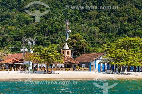 Vista da Igreja de São Sebastião (1863) na Vila do Abraão a partir da Baía de Ilha Grande  - Angra dos Reis - Rio de Janeiro (RJ) - Brasil