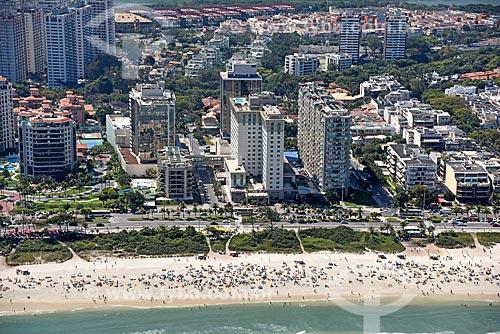 Foto aérea da orla da Praia da Barra da Tijuca com o Windsor Barra Hotel  - Rio de Janeiro - Rio de Janeiro (RJ) - Brasil