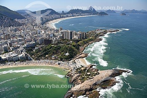 Foto aérea da Pedra do Arpoador com o Pão de Açúcar ao fundo  - Rio de Janeiro - Rio de Janeiro (RJ) - Brasil