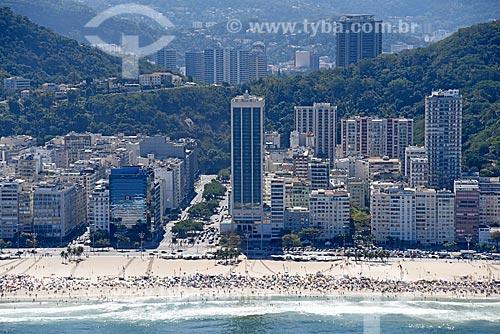 Foto aérea da orla da Praia do Leme com o antigo Hotel Le Meridien - atual Hotel Windsor Atlântica - e a Avenida Princesa Isabel  - Rio de Janeiro - Rio de Janeiro (RJ) - Brasil