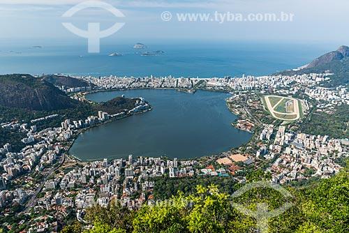 Vista do Lagoa Rodrigo de Freitas a partir do Pão de Açúcar com o Monumento Natural das Ilhas Cagarras ao fundo  - Rio de Janeiro - Rio de Janeiro (RJ) - Brasil