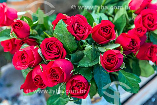 Detalhe de rosas à venda em floricultura na Rua General Glicério  - Rio de Janeiro - Rio de Janeiro (RJ) - Brasil