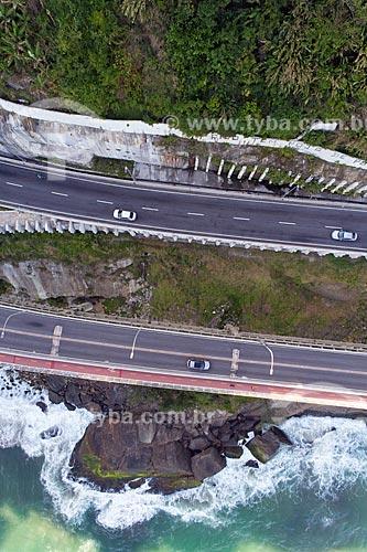 Vista do novo Elevado do Joá (Elevado Presidente Itamar Franco) e Elevado do Joá (Elevado das Bandeiras(1972)) - Visão Vertical  - Rio de Janeiro - Rio de Janeiro (RJ) - Brasil