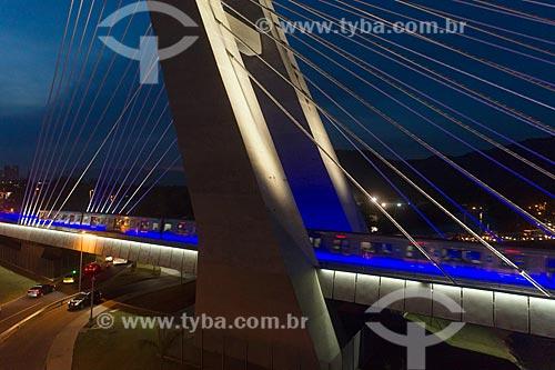 Foto feita por drone da Ponte estaiada na linha 4 do Metrô Rio  - Rio de Janeiro - Rio de Janeiro (RJ) - Brasil