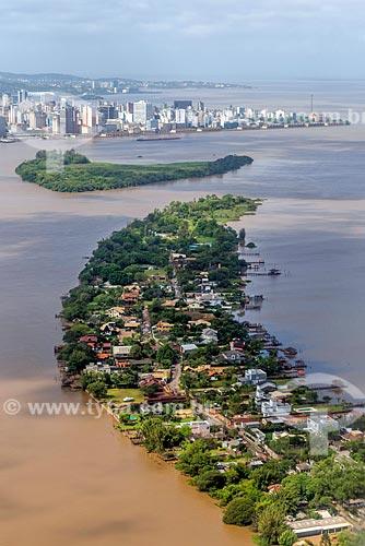 Vista aérea de ilhas no Lago Guaíba  - Porto Alegre - Rio Grande do Sul (RS) - Brasil