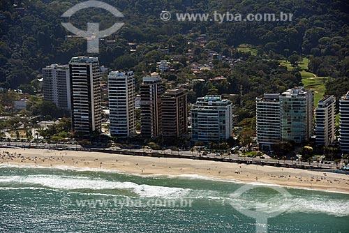 Foto aérea da orla da Praia de São Conrado  - Rio de Janeiro - Rio de Janeiro (RJ) - Brasil