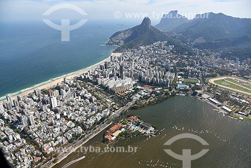 Foto aérea do Jardim de Alah com o Morro Dois Irmãos e a Pedra da Gávea ao fundo  - Rio de Janeiro - Rio de Janeiro (RJ) - Brasil