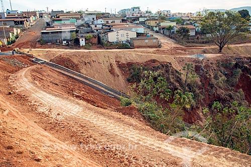 Canteiro de obras em área afetada por erosão pluvial na cidade de São Roque de Minas  - São Roque de Minas - Minas Gerais (MG) - Brasil