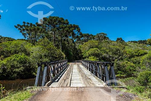 Ponte de madeira sobre rio no Parque Nacional dos Aparados da Serra  - Cambará do Sul - Rio Grande do Sul (RS) - Brasil