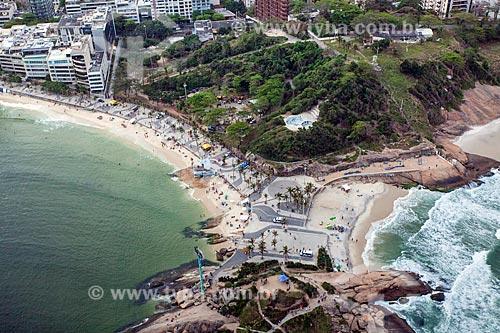 Foto aérea da Pedra do Arpoador com a Praia do Arpoador - à esquerda - e a Praia do Diabo - à direita  - Rio de Janeiro - Rio de Janeiro (RJ) - Brasil