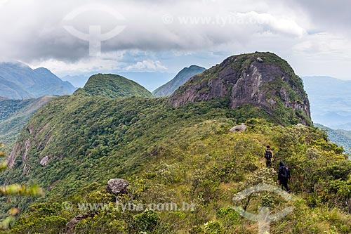 Vista do Morro dos Vândalos e Pedra do Diabo durante a Travessia Cobiçado x Ventania no Parque Nacional da Serra dos Órgãos  - Petrópolis - Rio de Janeiro (RJ) - Brasil