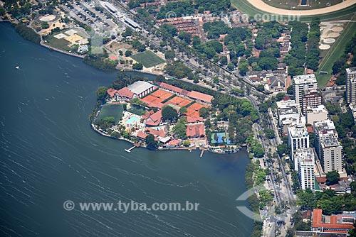 Foto aérea do Clube Naval Piraquê (1940) na Lagoa Rodrigo de Freitas  - Rio de Janeiro - Rio de Janeiro (RJ) - Brasil