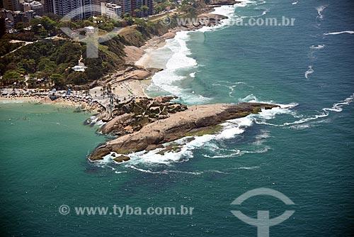 Foto aérea da Pedra do Arpoador com a Praia do Arpoador - à esquerda - com a Praia do Diabo - à direita  - Rio de Janeiro - Rio de Janeiro (RJ) - Brasil