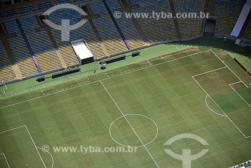 Foto aérea do campo de futebol do Estádio Jornalista Mário Filho (1950) - mais conhecido como Maracanã  - Rio de Janeiro - Rio de Janeiro (RJ) - Brasil