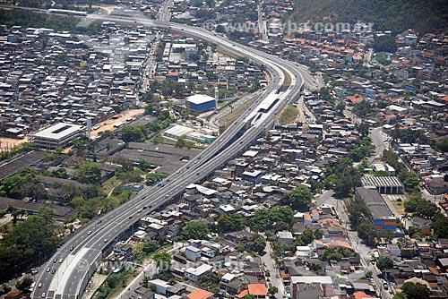 Foto aérea da Estação do BRT Transolímpica - Estação Hospital Raphael  - Rio de Janeiro - Rio de Janeiro (RJ) - Brasil