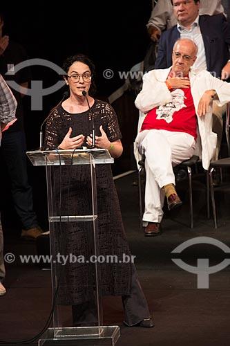 Marcia Tiburi durante o encontro de intelectuais e artistas com Luiz Inácio Lula da Silva no Teatro Oi Casa Grande - Campanha Eleição sem Lula é fraude  - Rio de Janeiro - Rio de Janeiro (RJ) - Brasil