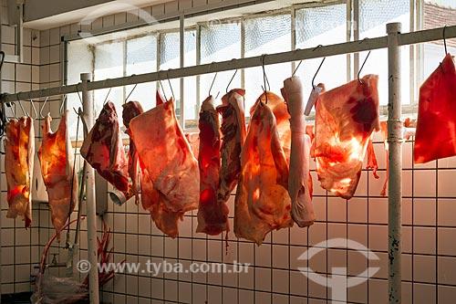 Carne de porco à venda em açougue no Mercado Municipal de Pouso Alegre  - Pouso Alegre - Minas Gerais (MG) - Brasil