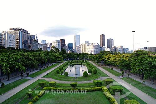 Foto feita com drone da Praça Paris (1926) com os prédios do centro do Rio de Janeiro ao fundo  - Rio de Janeiro - Rio de Janeiro (RJ) - Brasil