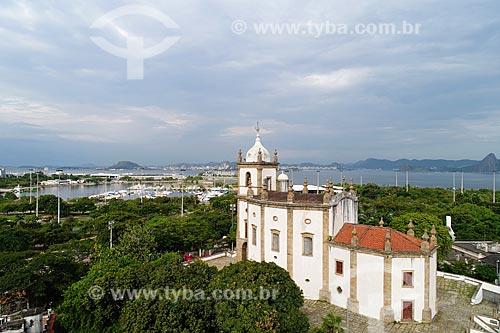 Foto feita com drone da Igreja de Nossa Senhora da Glória do Outeiro (1739) com a Marina da Glória ao fundo  - Rio de Janeiro - Rio de Janeiro (RJ) - Brasil