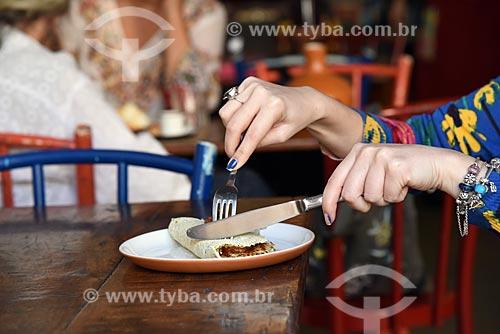 Detalhe de tapioca - também conhecida como beiju - no restaurante Café do Alto  - Rio de Janeiro - Rio de Janeiro (RJ) - Brasil