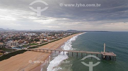 Foto feita com drone do emissário submarino da Praia de Costazul  - Rio das Ostras - Rio de Janeiro (RJ) - Brasil