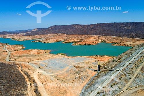 Foto feita com drone do Reservatório Bela Vista - parte do Projeto de Integração do Rio São Francisco com as bacias hidrográficas do Nordeste Setentrional - com água da chuva  - São José de Piranhas - Paraíba (PB) - Brasil