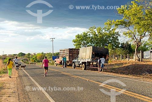 Caminhões no acostamento da Rodovia CE-384  - Mauriti - Ceará (CE) - Brasil