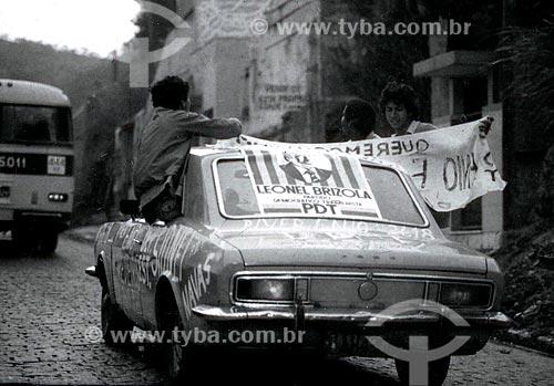 Carro durante a campanha Leonel Brizola ao governo do Estado do Rio de Janeiro  - Rio de Janeiro - Rio de Janeiro (RJ) - Brasil