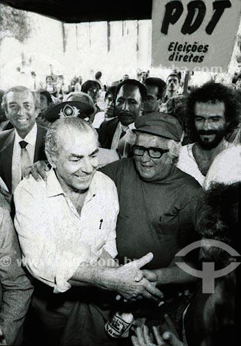 Leonel Brizola e José Abelardo Barbosa de Medeiros - mais conhecido como Chacrinha - durante a campanha de Brizola ao governo do Estado do Rio de Janeiro  - Rio de Janeiro - Rio de Janeiro (RJ) - Brasil