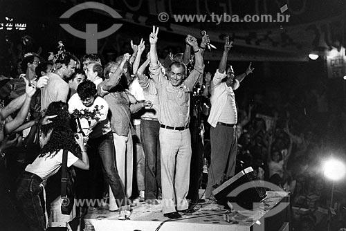Leonel Brizola e Darcy Ribeiro durante o comício da campanha de Brizola ao governo do Estado do Rio de Janeiro  - Rio de Janeiro - Rio de Janeiro (RJ) - Brasil