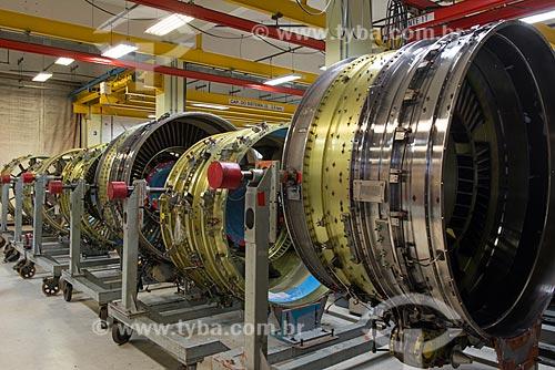 Manutenção de turbina de avião na GE Celma - Companhia Eletromecânica Celma  - Petrópolis - Rio de Janeiro (RJ) - Brasil