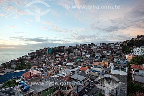 Vista do amanhecer a partir da favela do Vidigal  - Rio de Janeiro - Rio de Janeiro (RJ) - Brasil
