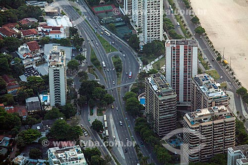 Vista do amanhecer na Avenida Prefeito Mendes de Moraes a partir da Pedra da Gávea  - Rio de Janeiro - Rio de Janeiro (RJ) - Brasil