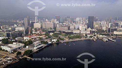 Foto feita com drone da Praça XV de Novembro com prédios do centro do Rio de Janeiro ao fundo  - Rio de Janeiro - Rio de Janeiro (RJ) - Brasil