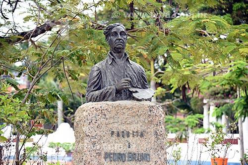 Detalhe do busto de Pedro Bruno (1948) - poeta, músico, pintor e escultor nascido na Ilha de Paquetá  - Rio de Janeiro - Rio de Janeiro (RJ) - Brasil