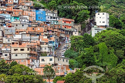 Detalhe da divisa entre a Favela do Cerro Corá e a vegetação  - Rio de Janeiro - Rio de Janeiro (RJ) - Brasil