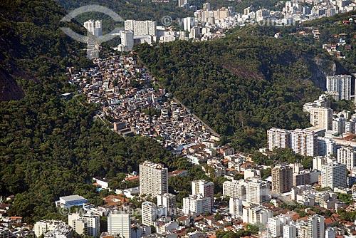 Foto aérea do favela Santa Marta  - Rio de Janeiro - Rio de Janeiro (RJ) - Brasil
