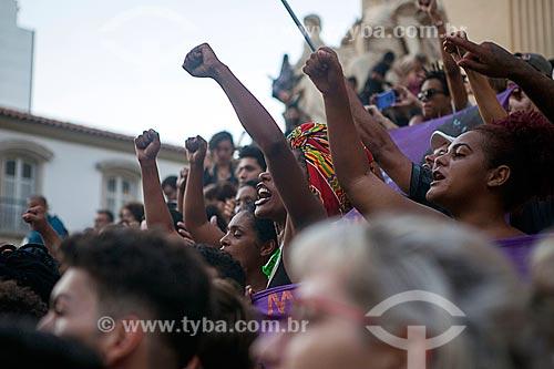 Detalhe de manifestação pelo assassinato da Vereadora Marielle Franco na Assembleia Legislativa do Estado do Rio de Janeiro (ALERJ)  - Rio de Janeiro - Rio de Janeiro (RJ) - Brasil