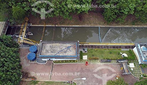 Foto feita com drone da Estação de Tratamento do Rio (UTR Flamengo) do Rio Carioca  - Rio de Janeiro - Rio de Janeiro (RJ) - Brasil