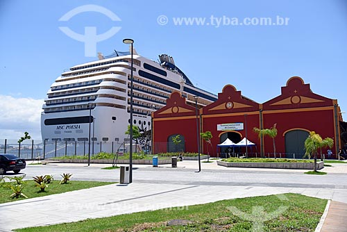 Vista de navio de cruzeiro e armazéns do Cais da Gamboa - Porto do Rio de Janeiro - na Orla Prefeito Luiz Paulo Conde (2016)  - Rio de Janeiro - Rio de Janeiro (RJ) - Brasil