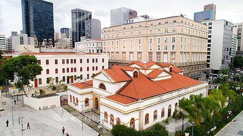 Foto feita com drone da Casa França-Brasil (1820), Centro Cultural Correios (1922) e Centro Cultural Banco do Brasil (1906)  - Rio de Janeiro - Rio de Janeiro (RJ) - Brasil