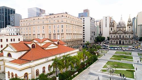 Foto feita com drone da Casa França-Brasil e Centro Cultural Banco do Brasil - à esquerda - com a Pira dos Jogos Olímpicos Rio 2016 e a Igreja de Nossa Senhora da Candelária ao fundo  - Rio de Janeiro - Rio de Janeiro (RJ) - Brasil