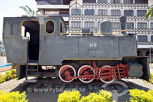 Locomotiva Macuca - construída na Alemanha e usada nas obras de implantação da linha férrea Blumenau Hans - em exibição na Praça Victor Konder  - Blumenau - Santa Catarina (SC) - Brasil