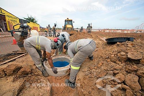 Canteiro de obras da construção da rede de esgoto próximo à Rodovia MA-204  - Paço do Lumiar - Maranhão (MA) - Brasil