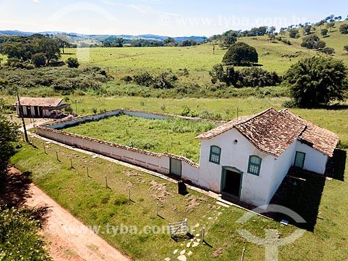 Foto feita com drone da Capela de São João Batista (1761) na cidade de Goiás  - Goiás - Goiás (GO) - Brasil