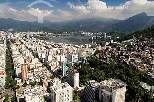 Foto feita com drone do bairro de Ipanema com a Lagoa Rodrigo de Freitas ao fundo  - Rio de Janeiro - Rio de Janeiro (RJ) - Brasil