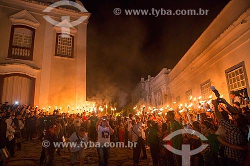Procissão do Fogaréu durante a Semana Santa na cidade de Goiás  - Goiás - Goiás (GO) - Brasil