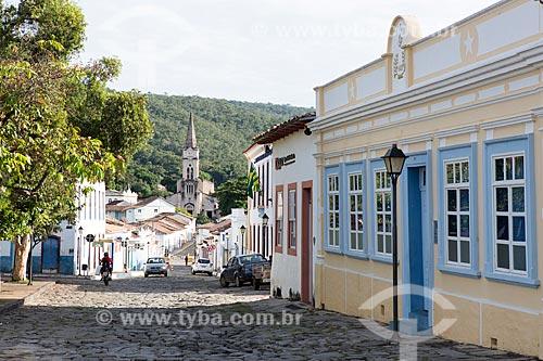 Vista da Rua Dom Cândido com a Igreja de Nossa Senhora do Rosário dos Pretos (1930) ao fundo  - Goiás - Goiás (GO) - Brasil